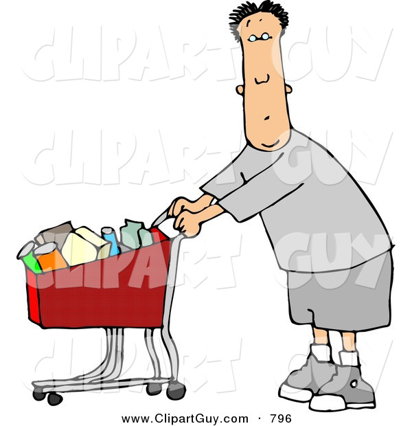 Clip Art of a Cute White Man Pushing a Shopping Cart Filled with Food in a Grocery Store