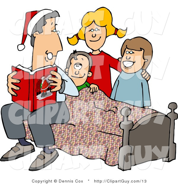 Clip Art of a Dad Reading a Bedtime Christmas Story to His Sons and Daughter