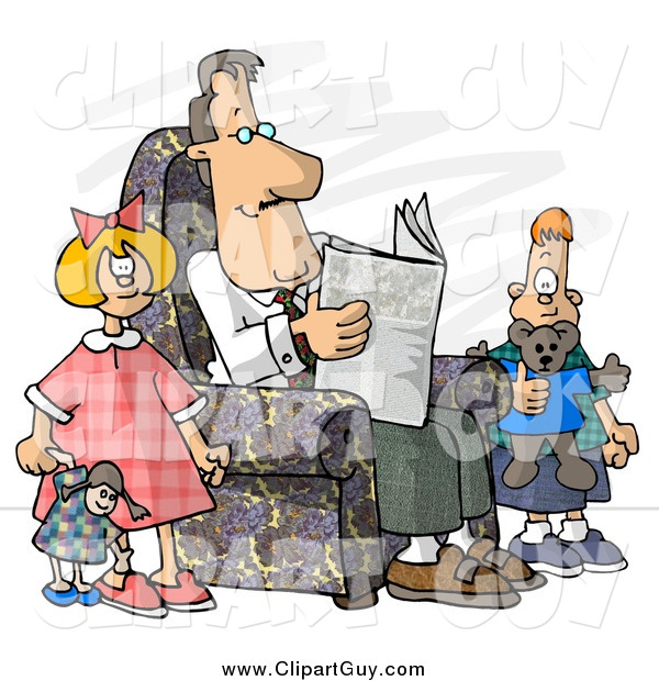 Clip Art of a Divorced White Dad Reading Newspaper Beside His Kids