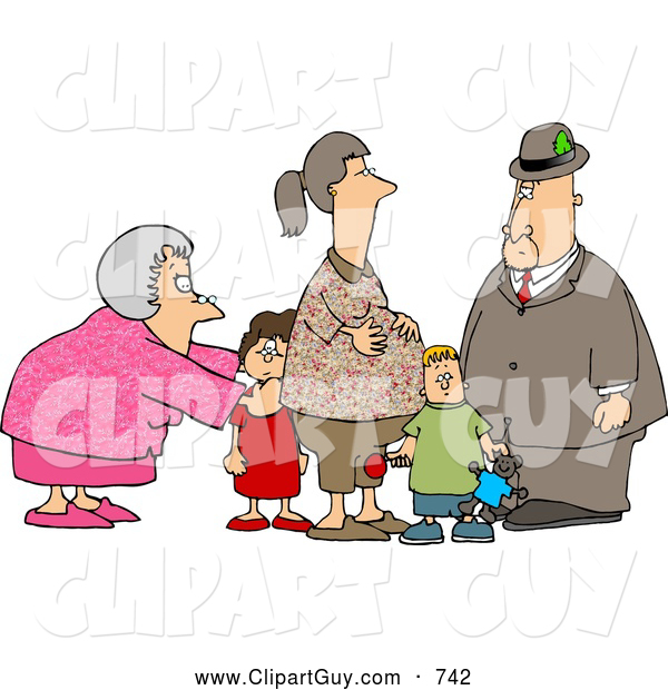 Clip Art of a Doting Grandma and Grandpa Standing with Grandchildren and Pregnant Daughter
