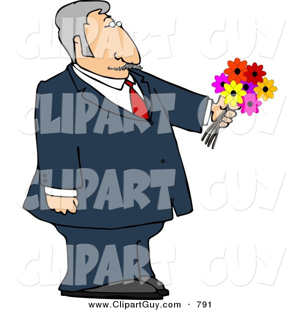 Clip Art of a Dressed up Caucasian Elderly Man Holding a Bouquet of Flowers for His Blind Date
