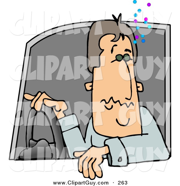 Clip Art of a Drunk Male Driver Operating a Motor Vehicle