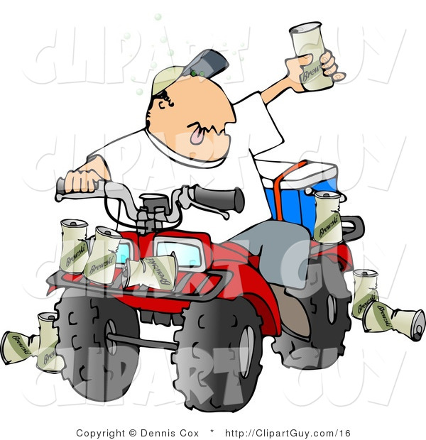 Clip Art of a Drunk Man Sitting on a Four Wheeled All-Terrain Vehicle and Holding up His Beer