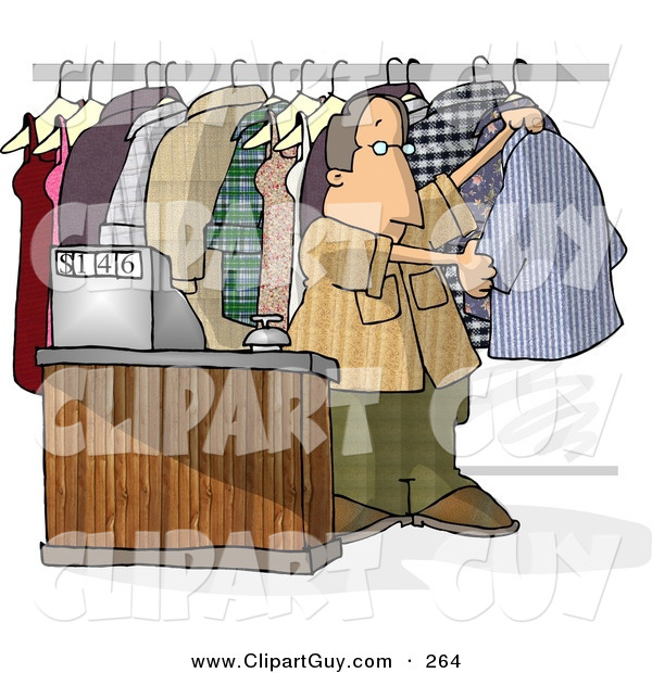 Clip Art of a Dry Cleaner Person Standing Beside Clothing and Cash Register
