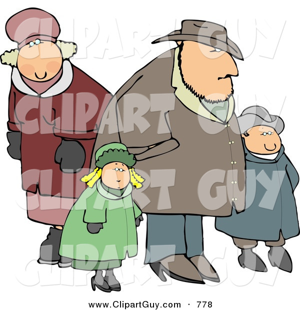 Clip Art of a Family of Four Going out Together During the Winter Season