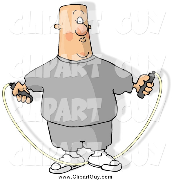 Clip Art of a Fat Caucasian Bald Man Jump Roping