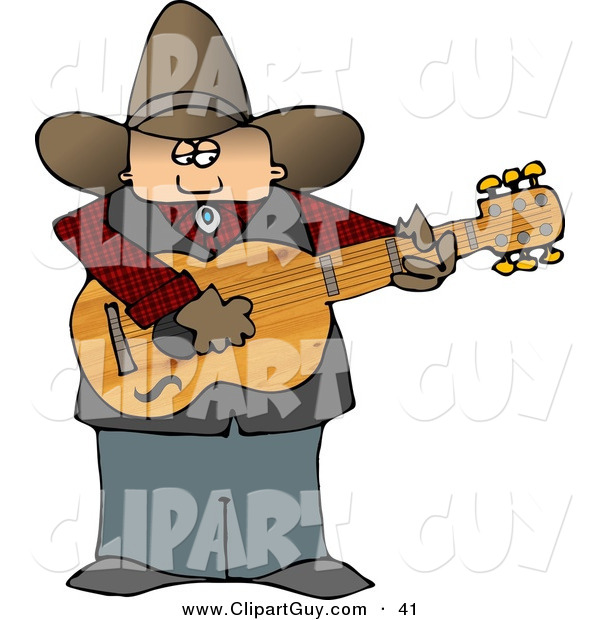 Clip Art of a Fat Country Cowboy Playing an Acoustic Guitar