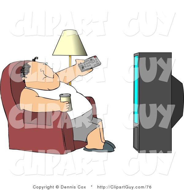 Clip Art of a Fat Man Sitting on a Couch, Channel Surfing the TV, and Drinking Beer