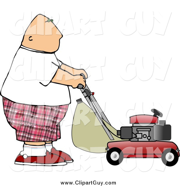 Clip Art of a Fat White Bald Man Mowing Lawn