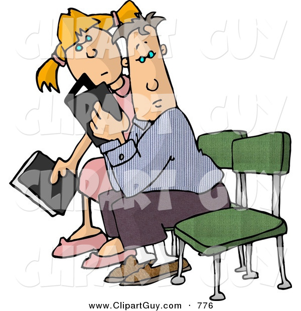 Clip Art of a Father and Daughter Sitting in Church, Holding Their Hymnals