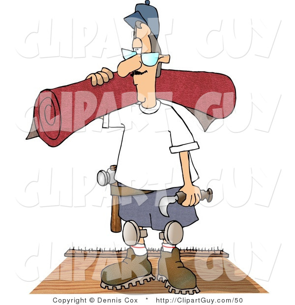 Clip Art of a Floor Worker Man Installing New Red Carpet in a House