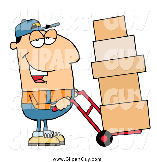 Clip Art of a Friendly White Delivery Man Using a Dolly to Move Boxes