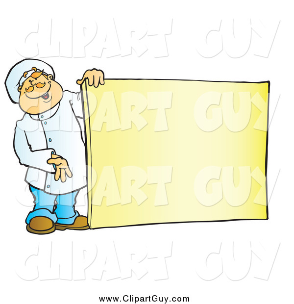 Clip Art of a Friendly White Male Chef Holding a Blank Sign Board