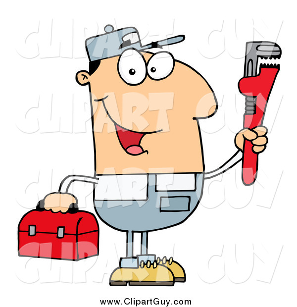 Clip Art of a Friendly White Plumber Man Carrying a Wrench and Tool Box
