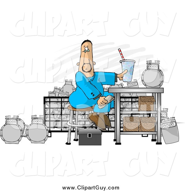 Clip Art of a Gas Meter Repair Man Sitting in His Shop Eating Lunch