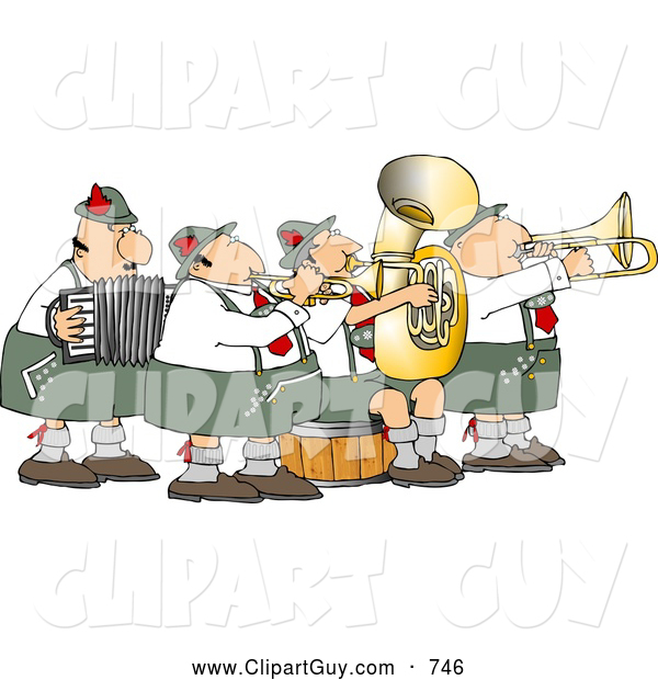 Clip Art of a German Band Playing Musical Instruments Together at a Performance