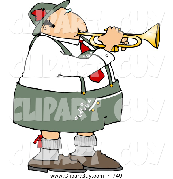 Clip Art of a German Trumpet Player Wearing Gray and White Cotton Lederhosen Clothing