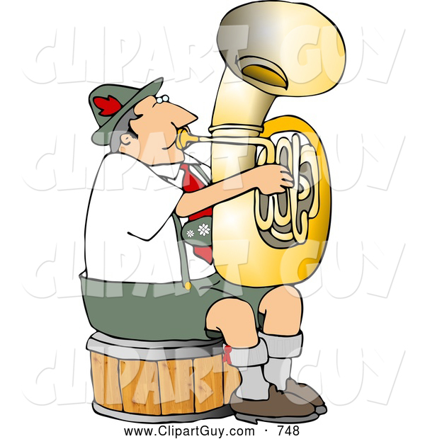 Clip Art of a German Tuba Player Practicing by Himself for a Band