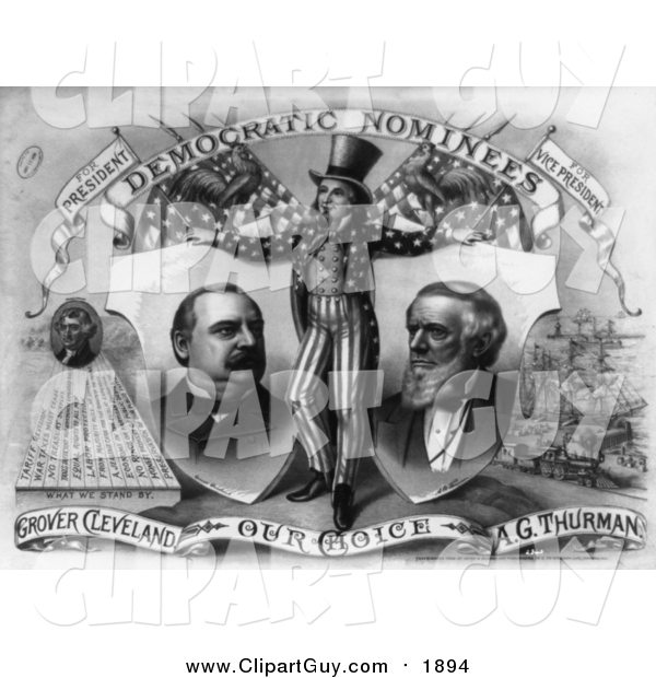 Clip Art of a Grayscale Uncle Sam, Grover Cleveland and A.G. Thurman