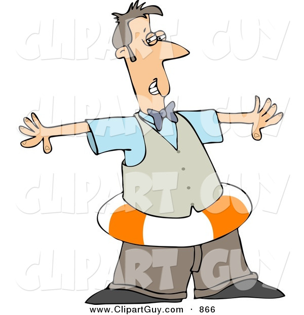 Clip Art of a Grinning Man Wearing a Life Preserver Around His Waist