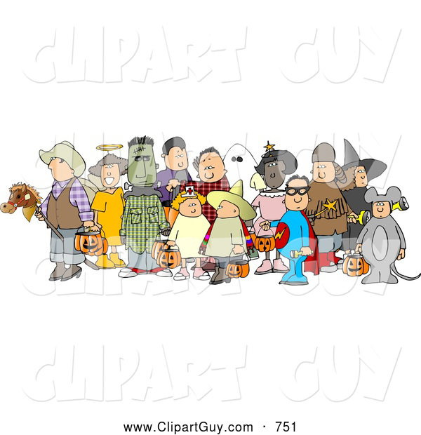 Clip Art of a Group of Adults and Children Wearing Halloween Costumes on White