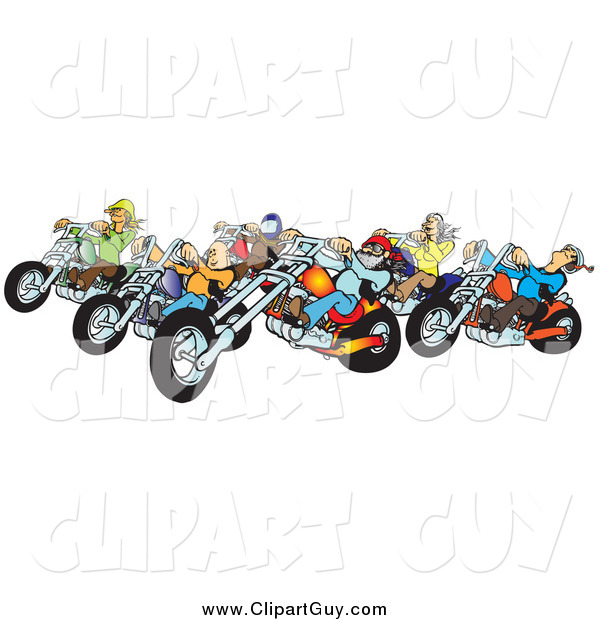 Clip Art of a Group of Biker Chicks and Dudes with Colorful Choppers