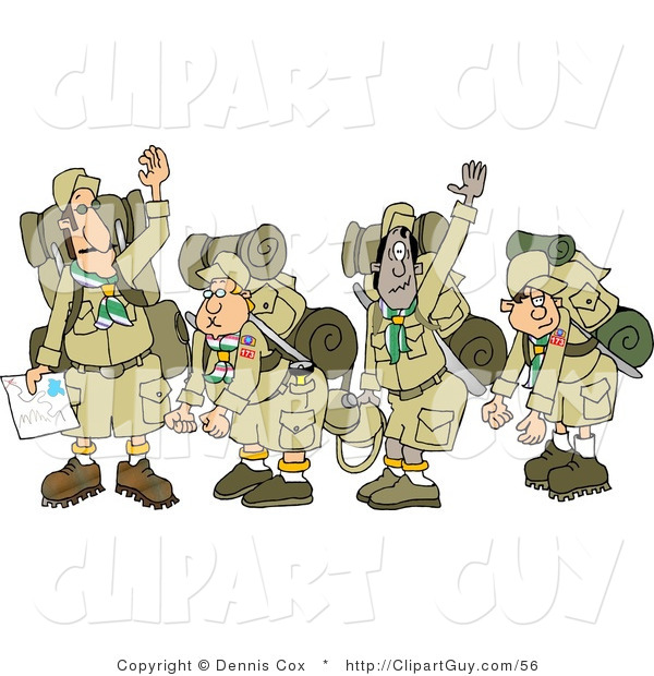 Clip Art of a Group of Boy Scouts Wearing Hiking Gear and Waving Their Hands Goodbye