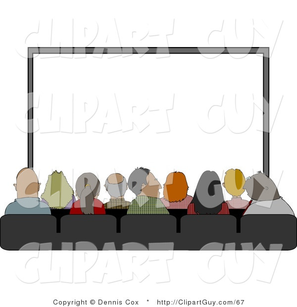 Clip Art of a Group of People Sitting in Their Seats at the Movie Theatre