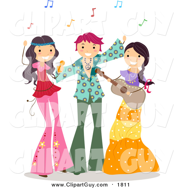 Clip Art of a Group of Teens at a Hippie Party