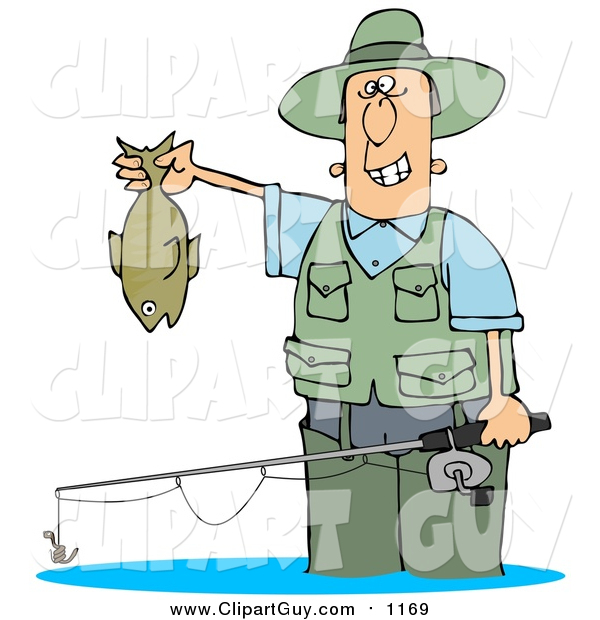 Clip Art of a Guy Wading in Water and Holding His Fishing Rod and Catch
