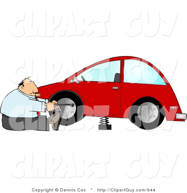 Clip Art of a Handy Businessman Changing a Flat Tire on a Red Compact Car