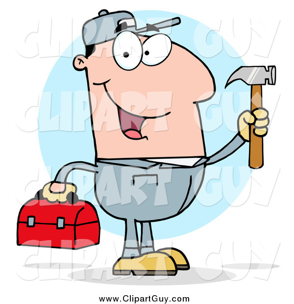 Clip Art of a Handy Man Holding a Hammer and Tool Box