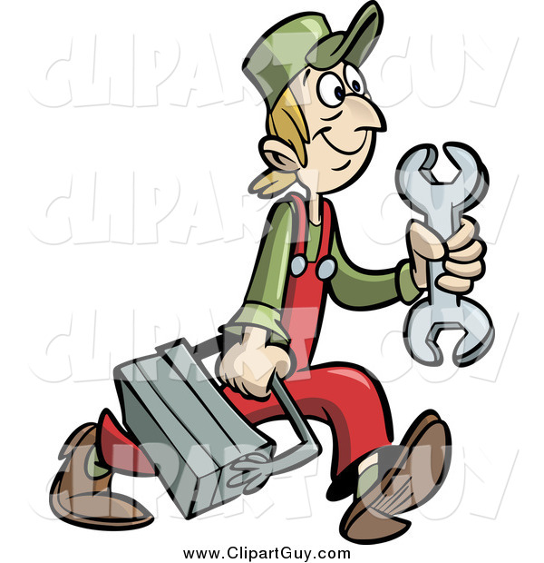 Clip Art of a Handy Man or Mechanic Carrying a Tool Box