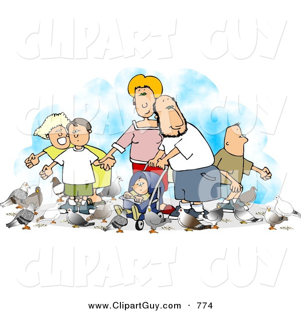 Clip Art of a Happy Family Feeding Pigeons at the Park