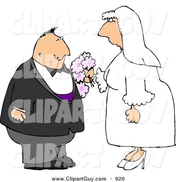Clip Art of a Happy Man and Woman Getting Married to Each OtherHappy Man and Woman Getting Married to Each Other
