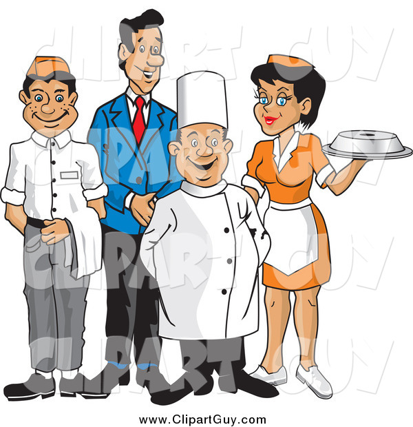 Clip Art of a Happy Wait Staff