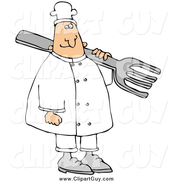 Clip Art of a Happy White Male Chef Carrying a Large Fork over His Shoulder