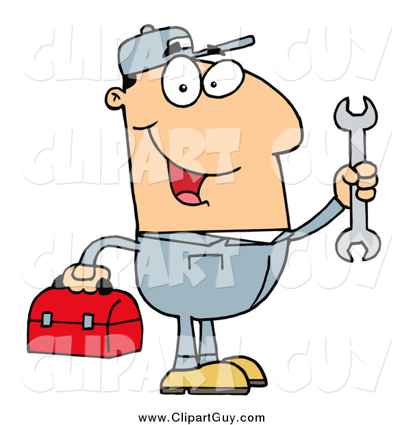 Clip Art of a Happy White Mechanic Man with a Tool Box and Wrench