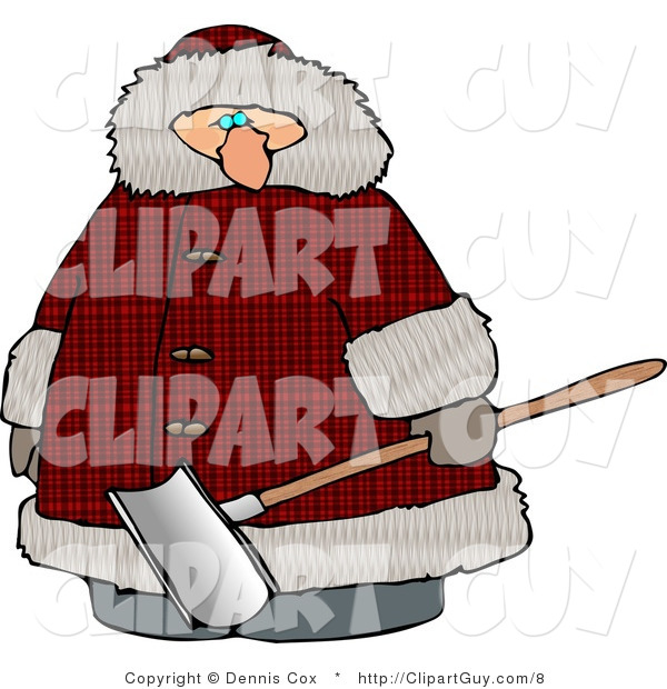 Clip Art of a Heavyset Man Wearing a Big Winter Coat and Holding a Snow Shovel