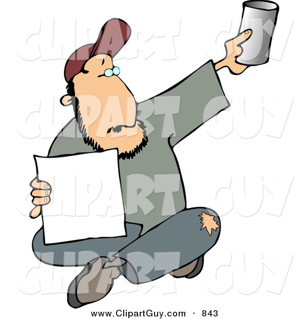 Clip Art of a Homeless Bearded Man Begging for Money