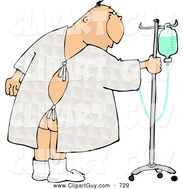 Clip Art of a Hospitalized Ill Caucasian Man Walking Around with an Intravenous (IV) Drip Line with Fluids