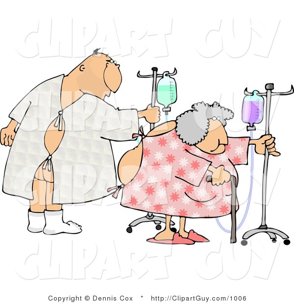 Clip Art of a Hospitalized Man and Woman Walking Around with an IV Drip