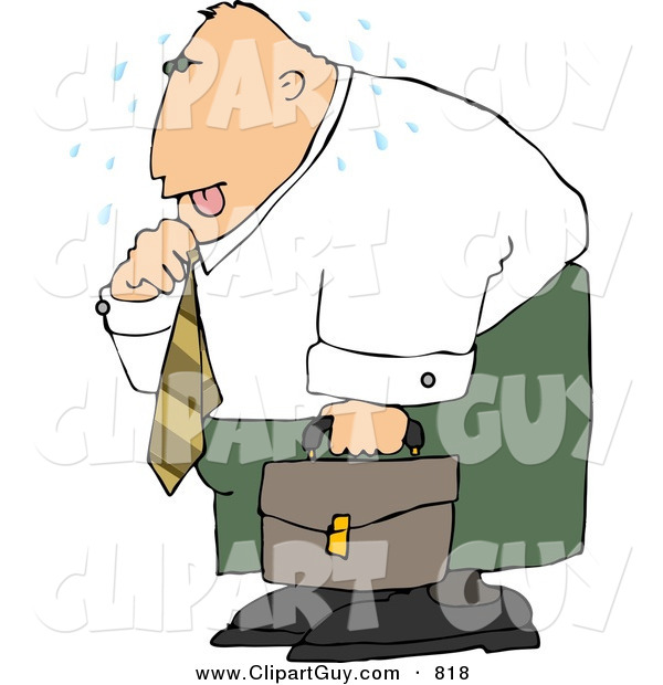 Clip Art of a Hot Caucasian Businessman Loosening up the Tie Around His Neck