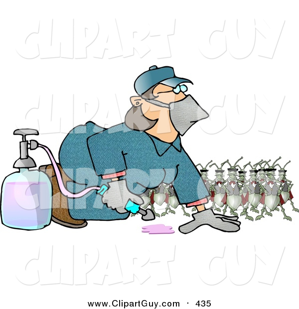 Clip Art of a Humorous Bugs Watching a Pest Control Exterminator Woman Test a Chemical Pesticide Substance