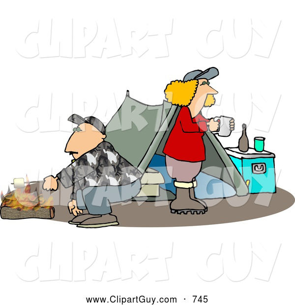 Clip Art of a Husband and Wife Camping Together Alone in the Woods