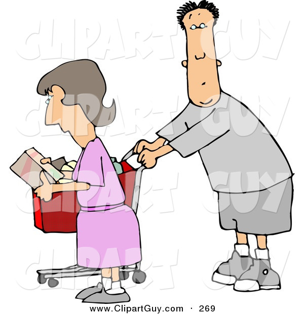 Clip Art of a Husband and Wife Grocery Shopping TogetherHusband and Wife Grocery Shopping Together