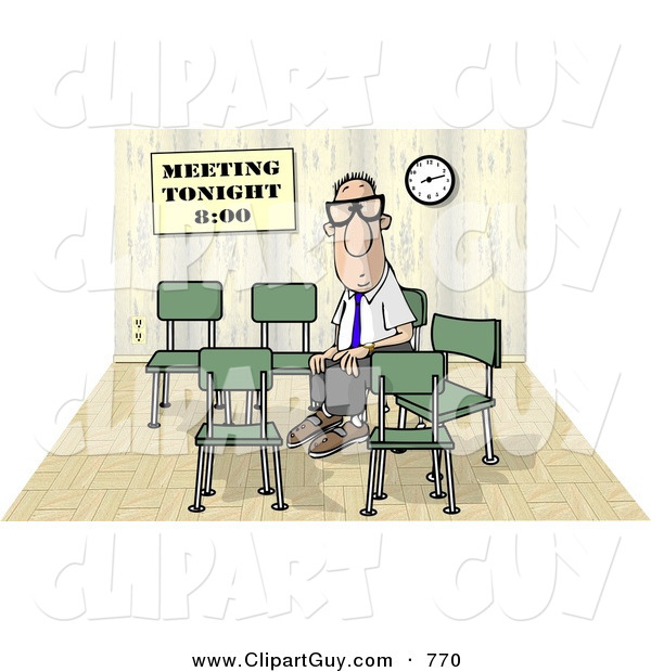 Clip Art of a Lonely Businessman Sitting and Waiting by Himself at a Meeting Which Was Scheduled for 8:00 on White
