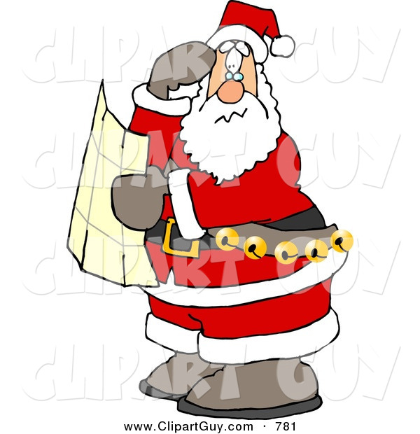 Clip Art of a Lost Santa Clause Holding a Map and Looking for Directions