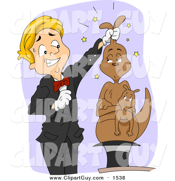 Clip Art of a Magician Pulling a Mad Kangaroo out of a Hat