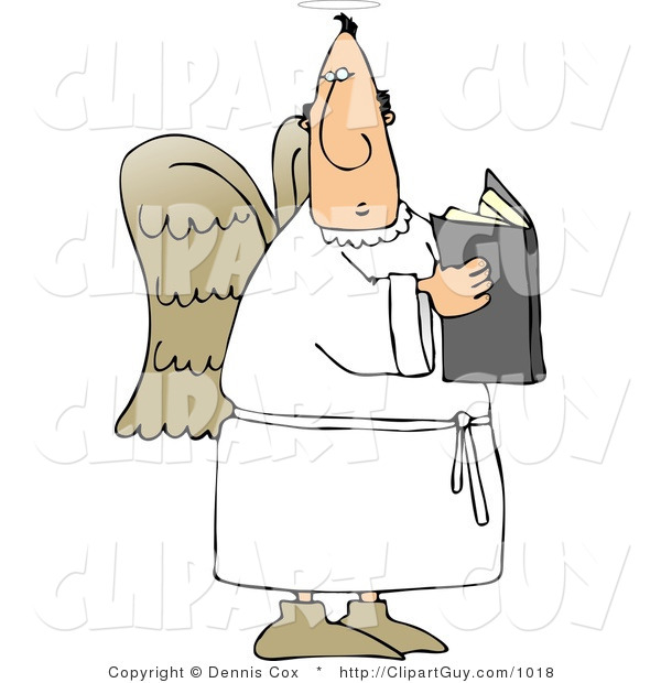 Clip Art of a Male Angel Holding an Open Bible